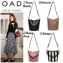 OAD NEW YORK Stripes Casual Style 2WAY Bi-color Plain Shoulder Bags