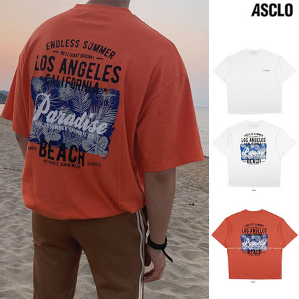 ASCLO More T-Shirts Street Style Collaboration Plain Cotton Short Sleeves
