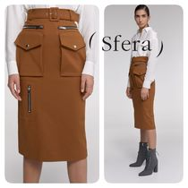 Sfera Casual Style Plain Medium Midi Skirts