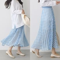 Gingham Casual Style Blended Fabrics Pleated Skirts Long