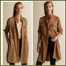 Massimo Dutti Casual Style Plain Medium Trench Coats
