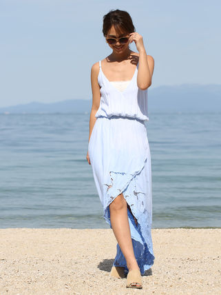 Casual Style Maxi Sleeveless V-Neck Lace Dresses