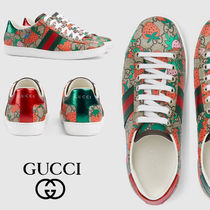 GUCCI Ace Round Toe Rubber Sole Lace-up Casual Style Unisex