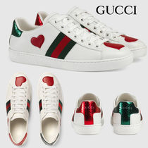 GUCCI Ace Unisex Blended Fabrics Leather Low-Top Sneakers