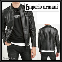 EMPORIO ARMANI Short Street Style Plain Leather Biker Jackets