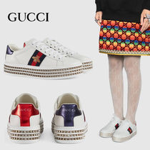 GUCCI Ace Platform Casual Style Street Style Other Animal Patterns