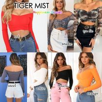 Tiger Mist Short Rib Tie-dye Long Sleeves Plain Cotton Cropped
