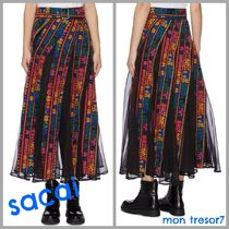 sacai Casual Style Cotton Long Maxi Skirts