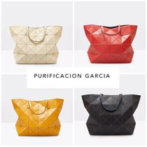 Purificacion Garcia Casual Style A4 Plain Leather Office Style Elegant Style