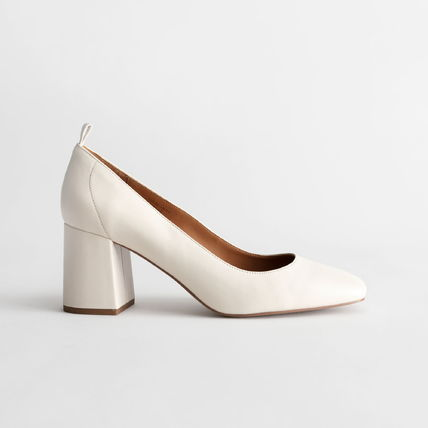 Square Toe Plain Leather Block Heels Office Style