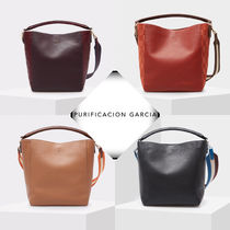 Purificacion Garcia A4 2WAY Plain Leather Office Style Formal Style  Totes