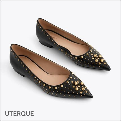 Studded Leather Elegant Style Pointed Toe Pumps & Mules
