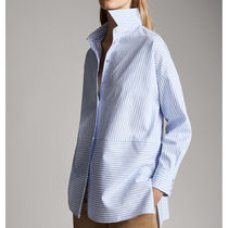 Massimo Dutti Stripes Casual Style Long Sleeves Cotton Shirts & Blouses