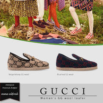 GUCCI Monogram Plain Toe Casual Style Loafer Pumps & Mules