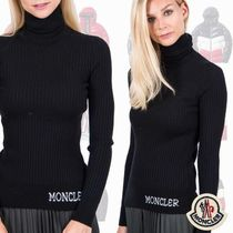 MONCLER Short Wool Bi-color Long Sleeves Elegant Style Turtlenecks