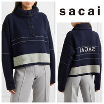 sacai Short Wool Long Sleeves Elegant Style Turtlenecks