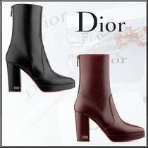 Christian Dior Round Toe Plain Leather Block Heels Elegant Style