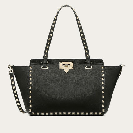 VALENTINO Totes Studded Plain Leather Totes 2