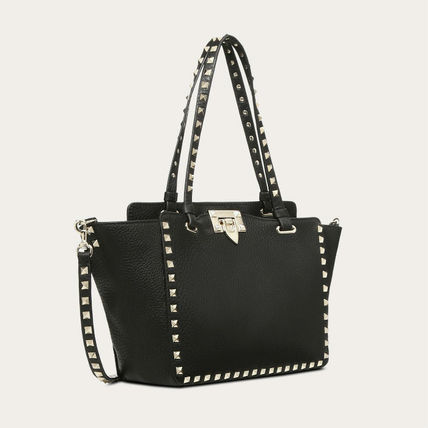 VALENTINO Totes Studded Plain Leather Totes 3