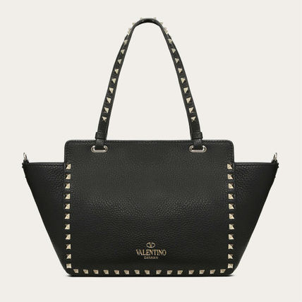 VALENTINO Totes Studded Plain Leather Totes 4