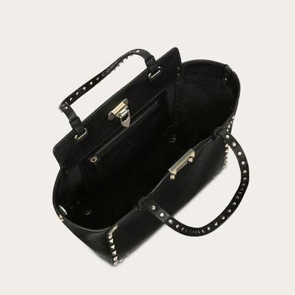 VALENTINO Totes Studded Plain Leather Totes 5