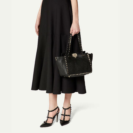 VALENTINO Totes Studded Plain Leather Totes 6