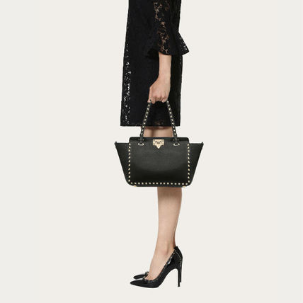 VALENTINO Totes Studded Plain Leather Totes 7