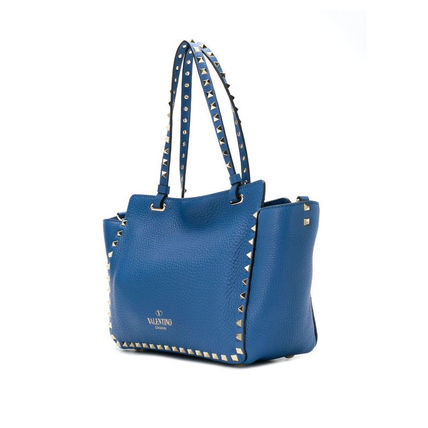 VALENTINO Totes Studded Plain Leather Totes 8