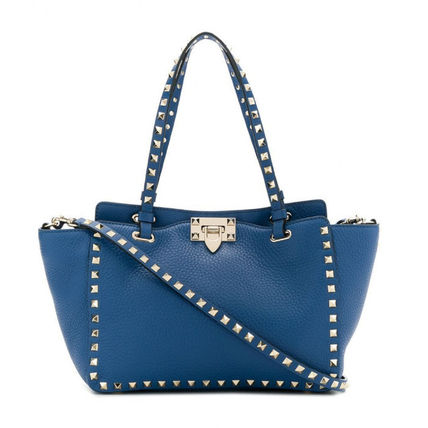 VALENTINO Totes Studded Plain Leather Totes 10