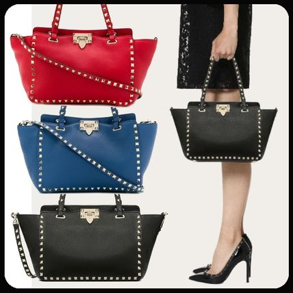 Studded Plain Leather Totes