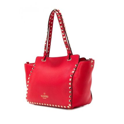 VALENTINO Totes Studded Plain Leather Totes 11