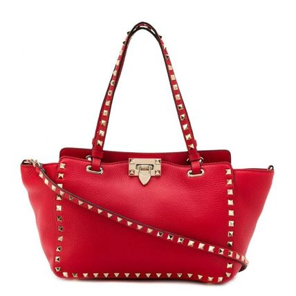 VALENTINO Totes Studded Plain Leather Totes 12