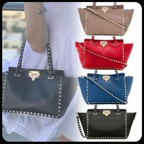 VALENTINO Studded Plain Leather Totes