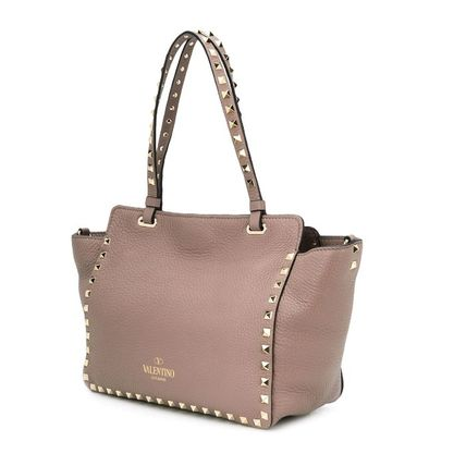 VALENTINO Totes Studded Plain Leather Totes 13