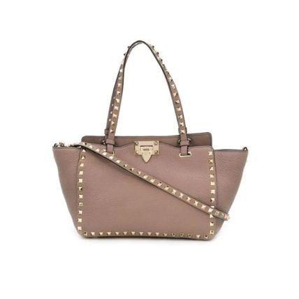 VALENTINO Totes Studded Plain Leather Totes 16
