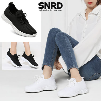 Round Toe Rubber Sole Casual Style Blended Fabrics Plain