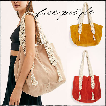 Casual Style Suede Blended Fabrics A4 Plain Totes