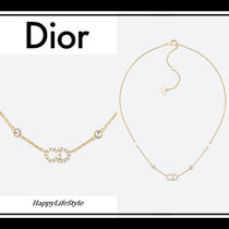 Christian Dior Chain Brass With Jewels Elegant Style Necklaces & Pendants