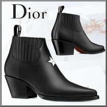 Christian Dior Plain Toe Plain Leather Block Heels Elegant Style