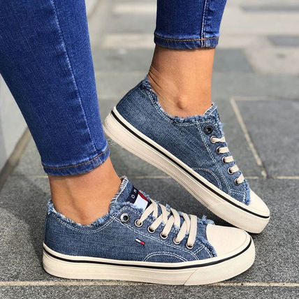 Blended Fabrics Street Style Plain PVC Clothing Dad Sneakers