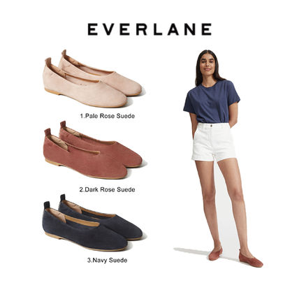 Casual Style Suede Plain Flats