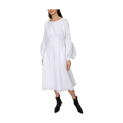 Crew Neck Casual Style Maxi Flared Long Sleeves Plain Cotton