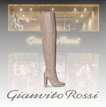 Gianvito Rossi Plain Leather Elegant Style High Heel Boots