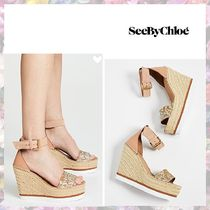 See by Chloe Open Toe Platform Leather Platform & Wedge Sandals