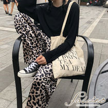 Leopard Patterns Casual Style Long Oversized Pants