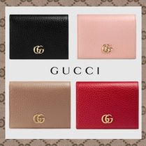 GUCCI GG Marmont Unisex Studded Plain Leather Folding Wallets