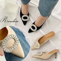 Plain Pin Heels With Jewels Elegant Style Heeled Sandals