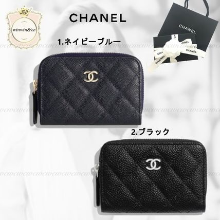 CHANEL TIMELESS CLASSICS Leather Long Wallet  Logo Coin Cases