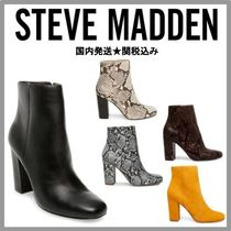 Steve Madden Plain Leather Python Chunky Heels Ankle & Booties Boots