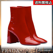 PRADA Square Toe Blended Fabrics Plain Leather Elegant Style